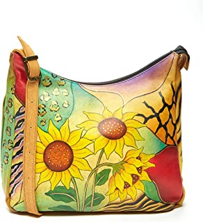 Anna by Anuschka Hobo Handbag - Hand Painted Design on Real Leather - Top Quality Purse - Free Purse Holder