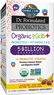 Garden of Life Dr. Formulated Probiotics Organic Kids+ plus Vitamin C & D - Strawberry Banana - Gluten Dairy & Soy Free Im...