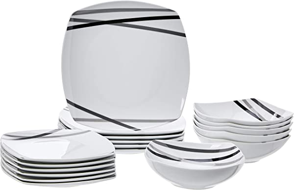 AmazonBasics 18 Piece Square Kitchen Dinnerware Set Dishes Bowls Service For 6 Modern Beams
