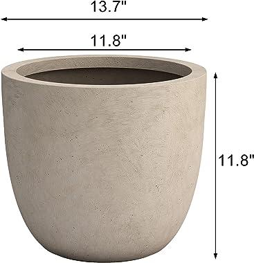 "Sapcrete 14"" Large Concrete Plant Pots Round Flower Pot Outdoor Indoor Garden Planters with Drainage Hole for Home Plants"