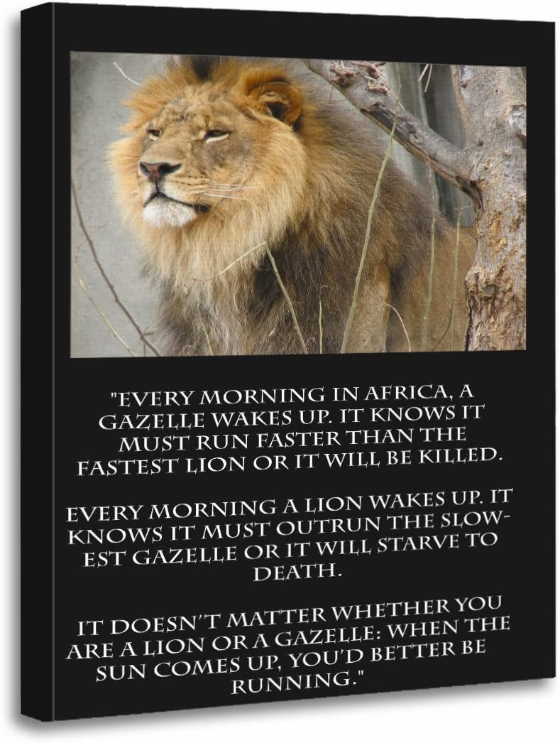 TORASS Canvas SALENEW very popular Quantity limited Wall Art Print Words Live Lion Running Gazelle Wis