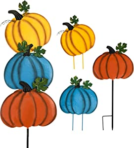 ALLADINBOX Metal Pumpkin Yard Stakes Outdoor Welcome Halloween Fall Decor, Rustic Pumpkin with Welcome Sign Thanksgiving Outdoor Stake Fall Autumn Harvest Halloween Lawn Walkway Decoration