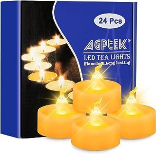 AGPtek® LED-ljus med timer, paket med 24, batteridrivna flamfria värmeljus med timerfunktion 6 timmar och 18 timmar för br...