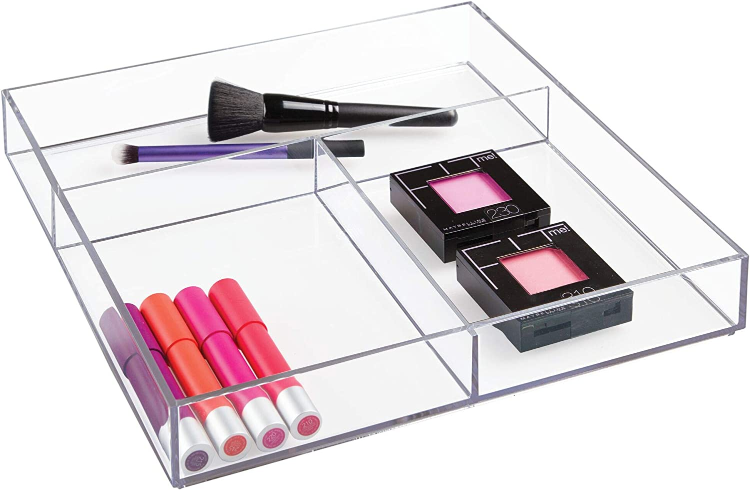 iDesign Clarity Organiser Tray Extra Large Plastic Drawer Insert Works Well as Accessories Organiser Clear