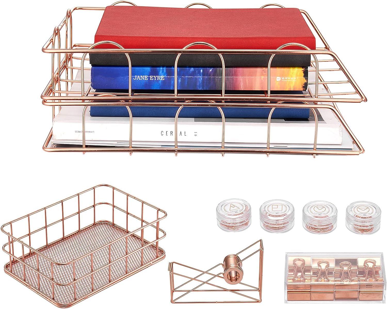 Omiagar Gold Desk Organizer Set: Office Cheap Rose Hom Great interest Mesh Metal