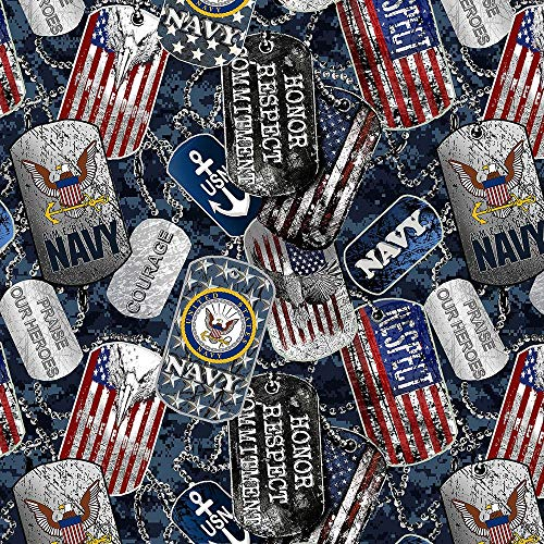 United States Military US Navy Cotton Fabric with Dog Tags and Digi Camo Ground Design-Sold by The Full Yard