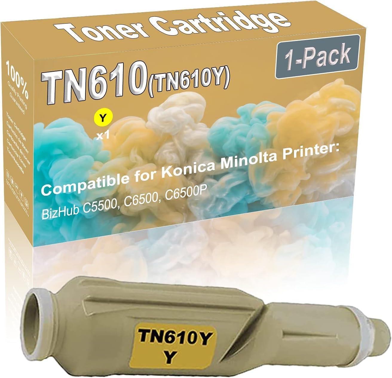 1-Pack (Yellow) Compatible BizHub C5500 C6500 Laser Printer Toner Cartridge (High Capacity) Replacement for Konica Minolta TN610 (TN610Y) Printer Toner Cartridge
