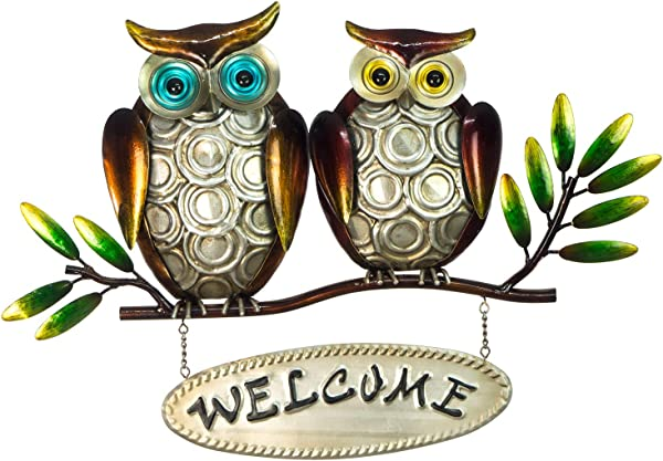 Owl Welcome Sign 3D Metal Design Hand Painted 18 X 12 Rustic Home Decor Indoor Or Outdoor Use Wall Hanging In Contemporary Farmhouse Style