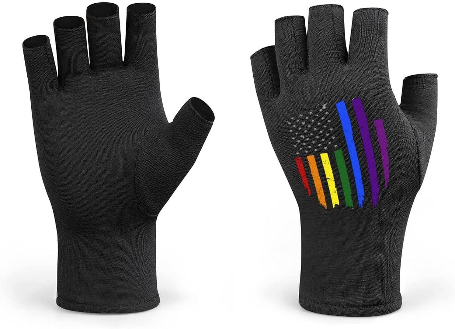 Gay LGBT Pride Rainbow Flag Unisex Half Finger Cycling Gloves, Road Bike Gloves Shockproof Breathable for Running,Motorcycle,Work Out