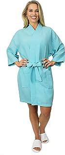 Indulge Women's Lightweight Short Kimono Waffle Robe, Spa Summer Bridesmaids Bathrobe