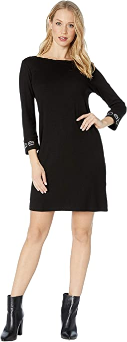 Logo 3/4 Sleeve Boat Neck Dress