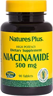 NaturesPlus Niacinamide - 500 mg, 90 Vegetarian Tablets - High Potency Vitamin B3 Supplement, Promotes Lower Blood Pressur...