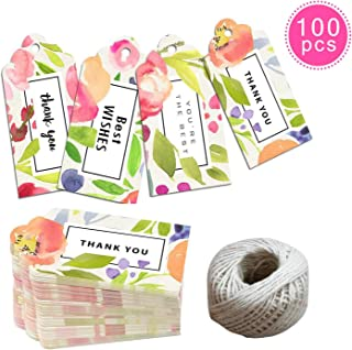 EHME Gift Tags Set - 100pcs Watercolor Floral Wedding Favor Tags, Thank You Tags in Party, Birthday All Occasions, with 100 feet Jute Twine Strings