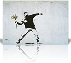 wall26 Canvas Print Wall Art - Rage The Flower Thrower - Street Art - Guerilla - Banksy Street Artwork on Canvas Stretched Gallery Wrap. Ready to Hang - 24 x 36 inches
