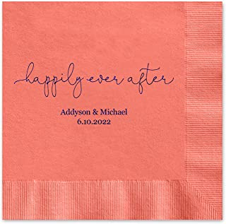 Canopy Street Happily Ever After Personalized Luncheon Napkins - 100 Coral Paper Coined Napkins with a Choice of foil. 6 1/2'' x 6 1/2'' Folded, Made in The USA