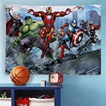 Baccessor Super Hero Tapestry Spider Man, Hulk, Captain America, Black Panther and Iron Man Marvel Fans Favorite American Hero Tapestry for Boy's Bedroom,80