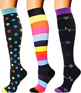 3 Pairs Compression Socks for Women Men 20-30mmhg Knee High Stocking for Running