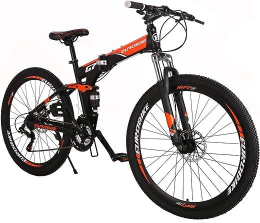 "Eurobike OBK G7 Folding Bike 21 Speed Full Suspension Mountain Bicycle 27.5"" Daul Disc Brake Mens Bikes Foldable Frame"