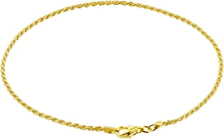 14k Gold over Sterling Silver Vermeil 1.5mm Rope Foot Chain Anklet for women