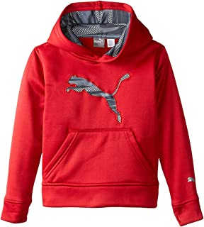 Kids Storm Force 1 Red Pullover Hoodie with Big Cat Logo Sweatshirt with Thumb Holes for Boys