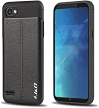 J&D Case Compatible for LG Q6 Case, [Anti-Scratch] [Leather Texture Pattern] Shock Resistant Protective Rubber TPU Slim Case for LG Q6 Bumper Case - Black