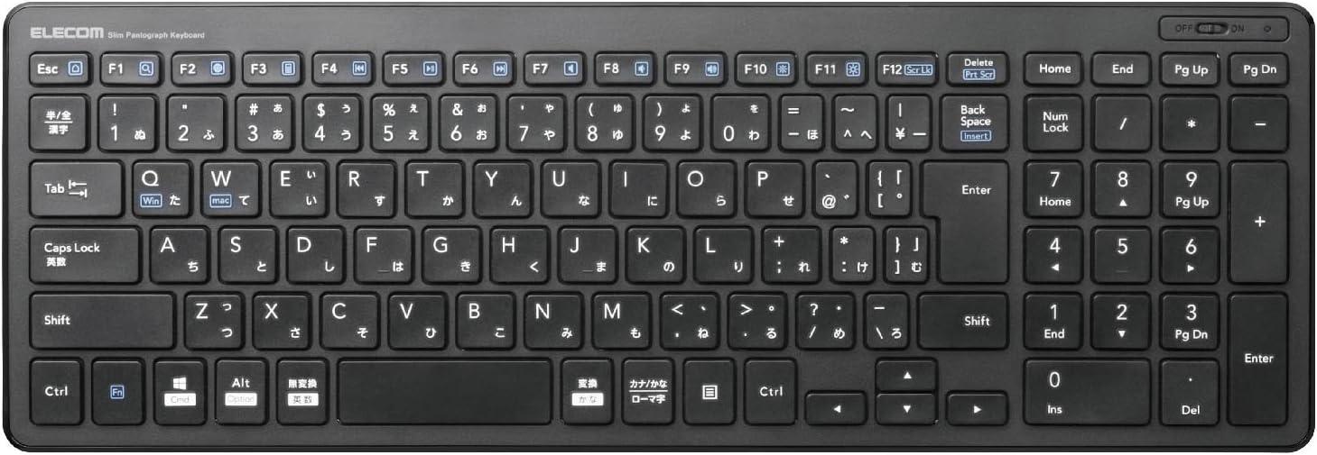 エレコム キーボード ワイヤレス (レシーバー付属) パンタグラフ コンパクトキーボード ブラック TK-FDP099TBK