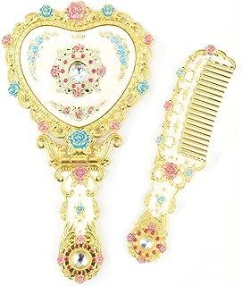 Moiom Vintage Princess Mirror, Iridescent Rhinestones Crystal Metal Folding Handheld Cosmetic Mirror Portable Travel Dressing Table Makeup Mirror