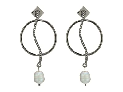 Vince Camuto Organic Pearl Drops Earrings (Hematite/Crystal/Light Gray Pearl) Earring
