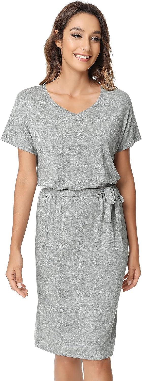 NACHILA Women's Casual Short Sleeve Bodycon T Shirt Lounge Dress Casual Pencil Dress with Sheath Belt S-XL