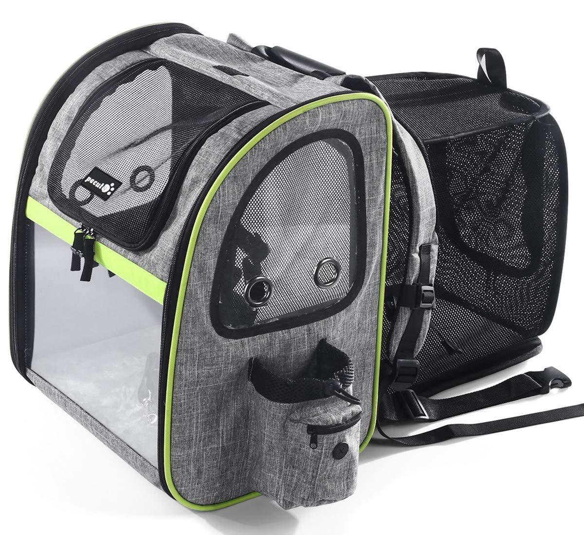Pecute Transportin Gato Mochilas para Gatos y Perro Bolsa para Mascotas Expandible y Plegable, Carga Máxima 15 kg, para Viajar en Tren/automóvil/Restaurante/avión, Gris (Gris, Ventana Transparente): Amazon.es: Productos para mascotas