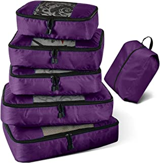 Viefin 6 Set Packing Cubes for Travel Carry on Luggage,Packing Organizers with 2 Large Packing Cubes & Shoe Bag(Purple,6 pcs)