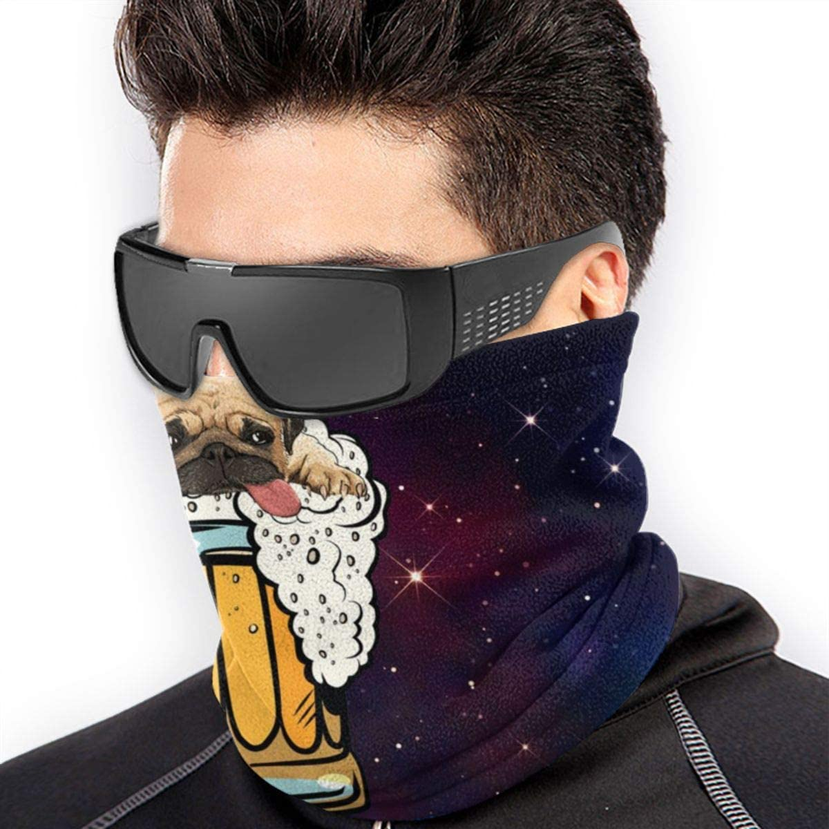 CLERO& Scarf Fleece Neck Warmer Pug Dog Beer Drinking Party Funny Windproof Outdoor Headwear Comfortable Neck Gaiter Warmer Face Mask for Cold Weather Winter Outdoor Sports