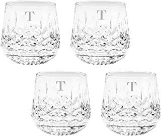 Waterford Lismore 9oz Old Fashioned Glasses Set of 4, Custom Glasses, Engraved Glass Set, Personalized Glassware