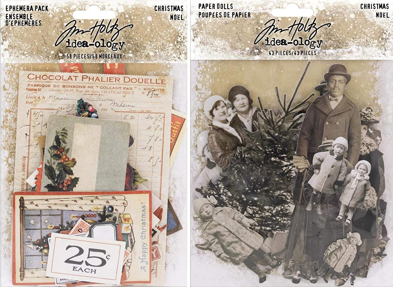 Tim Holtz Idea-Ology 2018 Christmas Ephemera and Christmas Paper Dolls - 2 Item Bundle