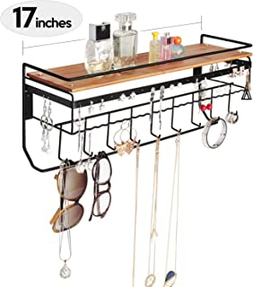 JackCubeDesign Hanging Jewelry Organizer Necklace Hanger Bracelet Holder Wall Mount Necklace Organizer with 9 Hooks and Bamboo Support(Black,16.9 x 5.9 x 7.1 inches) - MK237A
