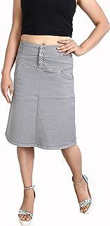 FCK-3 Silky Strechable Denim Pencil Fit Skirt for Women's