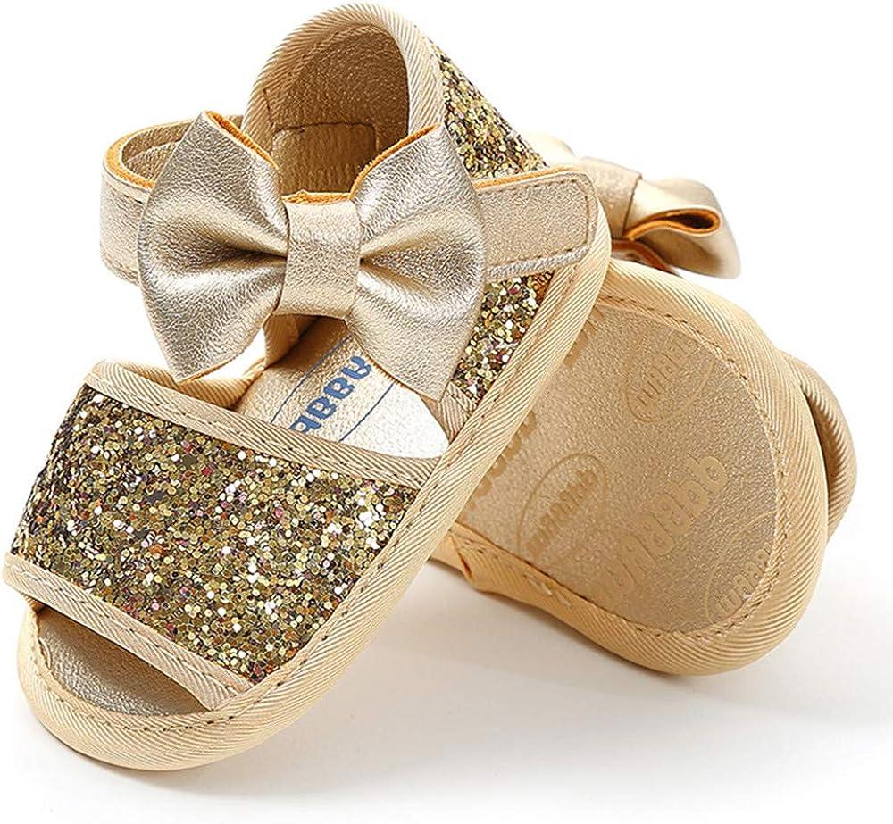 TIMATEGO Infant Baby Girls Sandals Non Slip Soft Sole T-Strap Flip Flops Toddler First Walker Crib Dress Shoes 3-18 Months