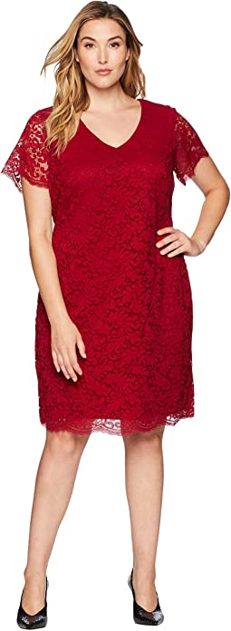 Plus Size Panel Lace Gordy Short Sleeve Day Dress