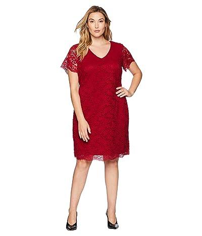LAUREN Ralph Lauren Plus Size Panel Lace Gordy Short Sleeve Day Dress (Vibrant Garnet) Women