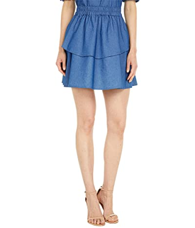 1.STATE Elastic Waist Double Layer Skirt