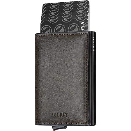 VULKIT Credit Card Holder RFID Blocking Mens Leather Card Wallet Pop Up Secure Bank Card Holder with 2 Slots for Cards and Banknote, Darkolive