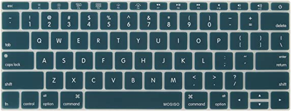 MOSISO Silicone Keyboard Cover Protective Skin Compatible with MacBook Pro 13 inch 2017 & 2016 Release A1708 Without Touch Bar, MacBook 12 inch A1534, Deep Teal