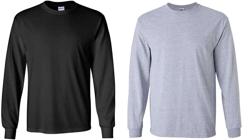 Gildan Men's Ultra Cotton Adult Long Sleeve T-Shirt, 2-Pack, Black/Sportsgrey (X-Large, Black/Sportsgrey)