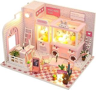 MIZUAN DIY Mini Doll House Game Console Toy Wooden Furniture Miniature Castle Dollhouse Creative Handmade Assembled Decora...