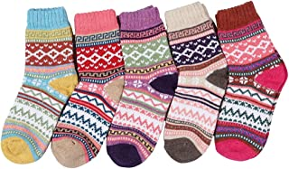 HENNY RUE 5 Pairs Womens Vintage Style Winter Warm Thick Knit Wool Crew Socks