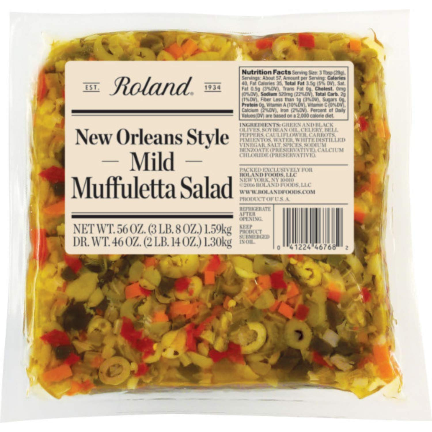 Roland Foods New Orleans Style Mild Muffuletta Salad, Sourced in the USA, 56-Ounce Pouch