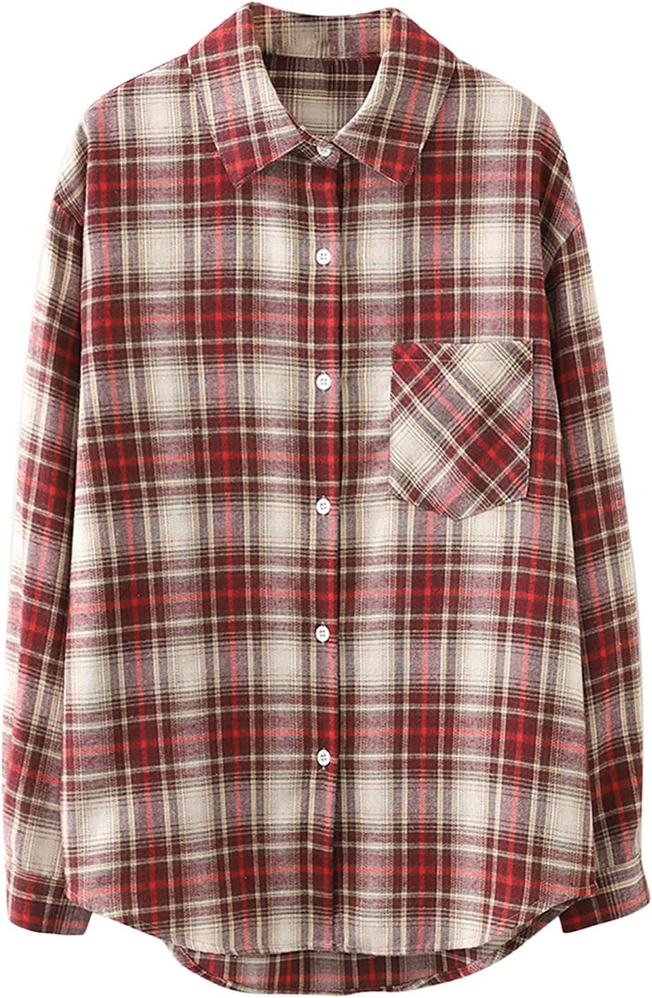 Hatoys Womens Tops Pocket Bust Button Cuffed Plaid Max 85% OFF Shirt San Antonio Mall Sleeve