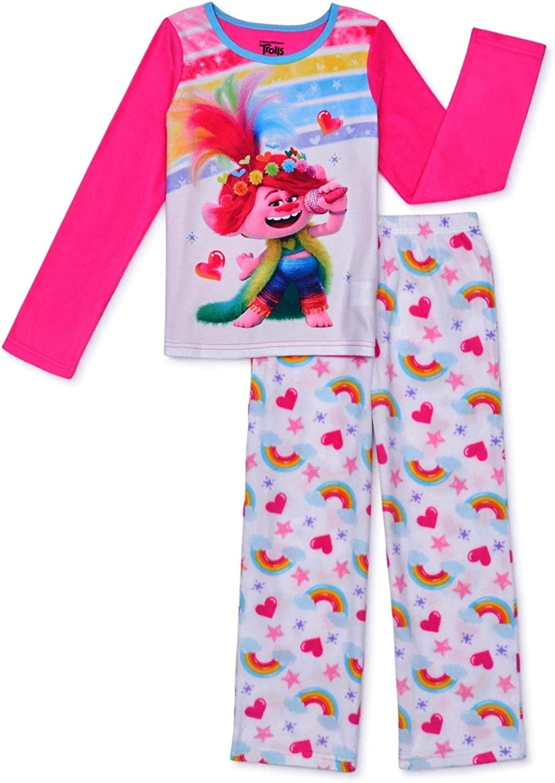 T-R-O-L-L-S Girls Long Sleeve Top & Long Pants 2-Piece Pajama Set Size 4 Pink