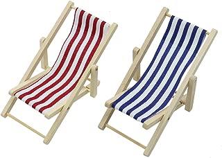 SenseYo 2PCS Mini Dolls House Miniature Wooden Folding Beach Sunbath Chair Dollhouse Furniture Accessories 1:12 (Blue & Red Stripe)