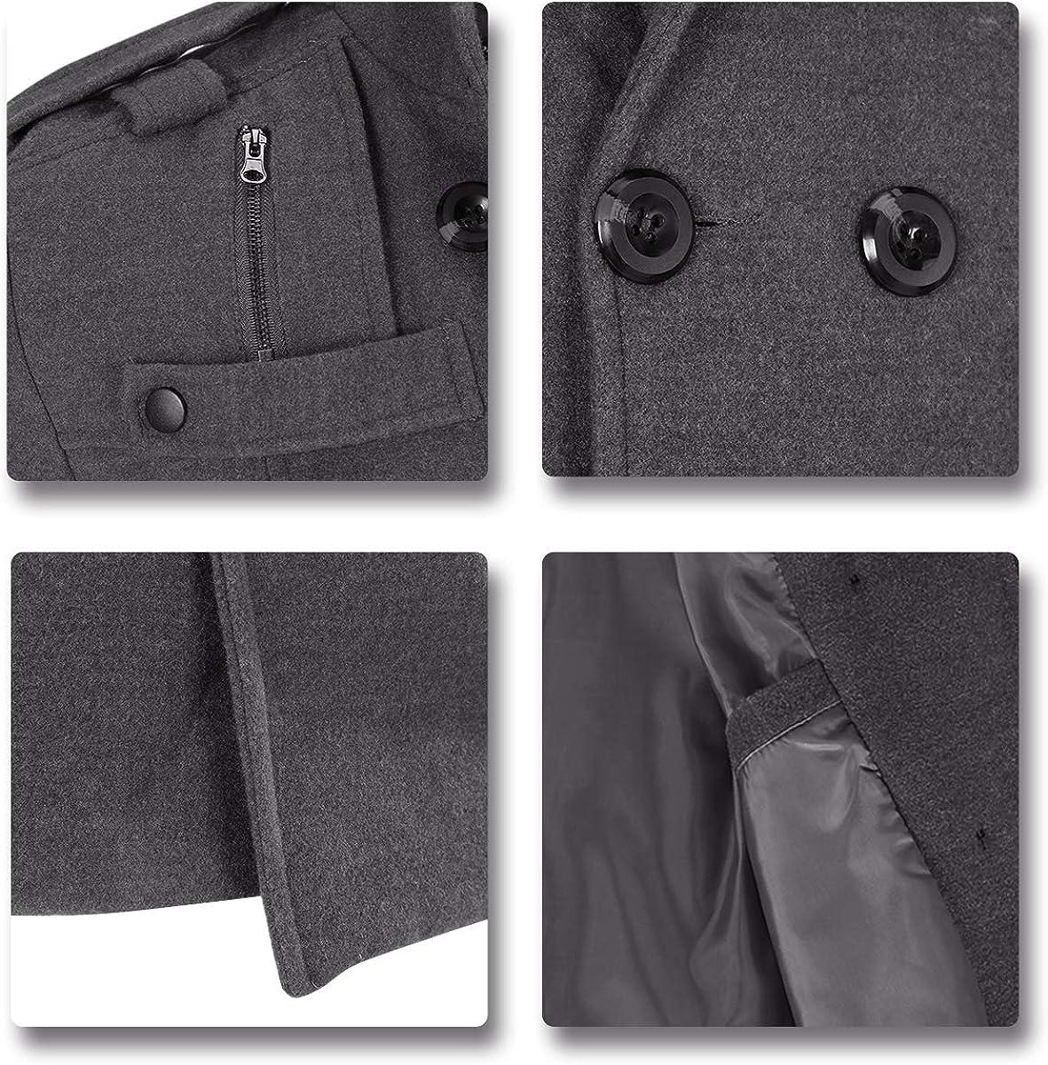 AOWOFS Mantel Herren Slim Fit Wintermantel Wolle mit Stehkragen Zweireiher Kurzmantel für Bussiness Freizeit Grau